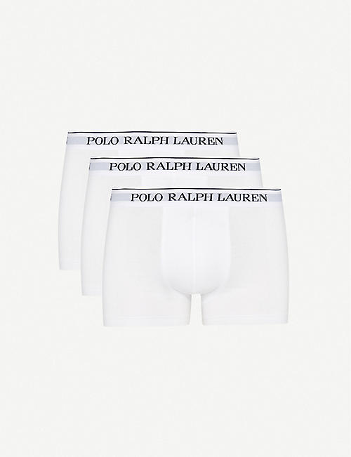 POLO RALPH LAUREN: Pack of three logo–waistband classic-fit stretch-cotton trunks