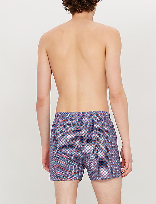 DEREK ROSE Geometric mosaic classic-fit cotton boxers