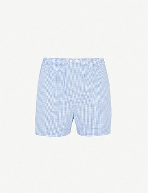 DEREK ROSE Gingham-checked relaxed-fit cotton boxer shorts