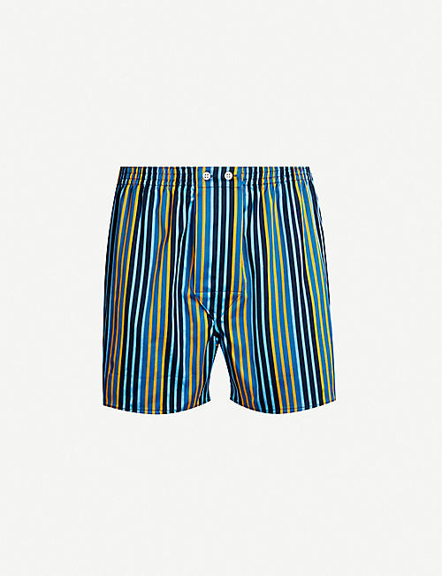 DEREK ROSE Wellington classic-fit striped cotton boxers