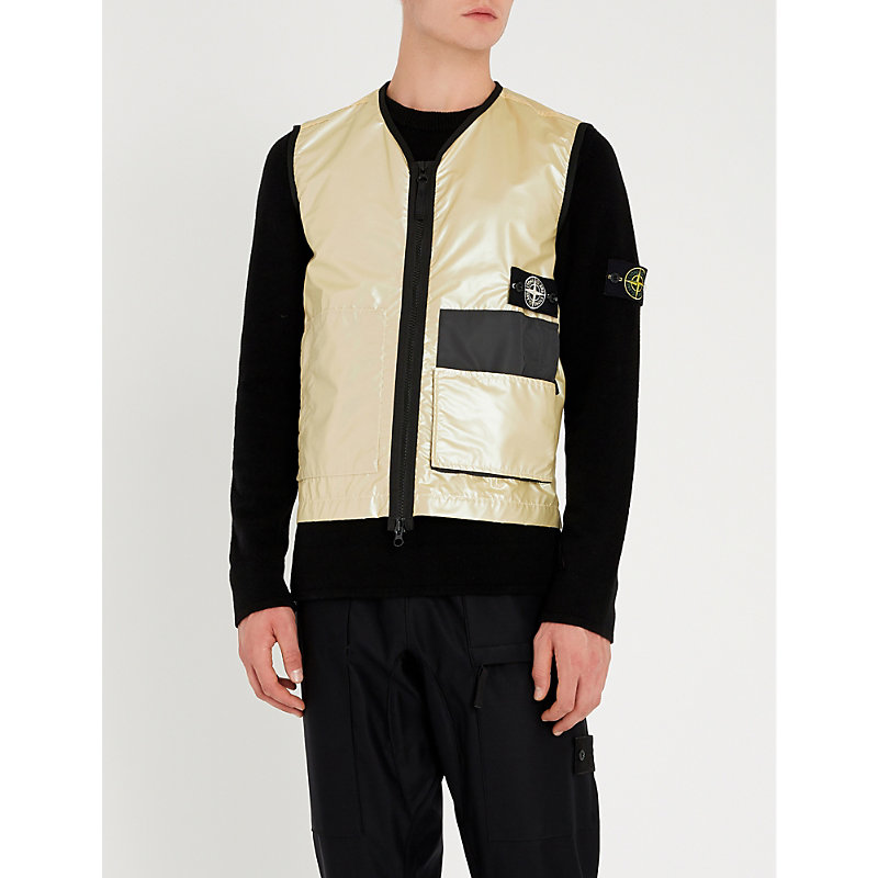 STONE ISLAND Iridescent Padded Shell Gilet in Grey