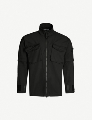 STONE ISLAND Funnel-neck cotton overshirt