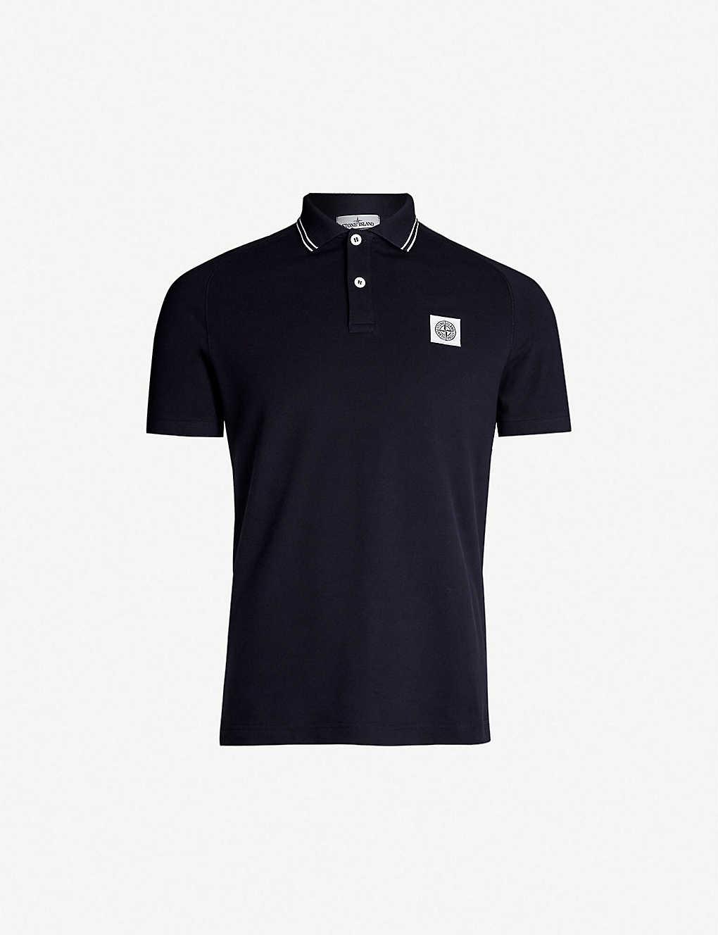 a9ec9680de9 STONE ISLAND - Badge chest stretch-cotton polo shirt | Selfridges.com