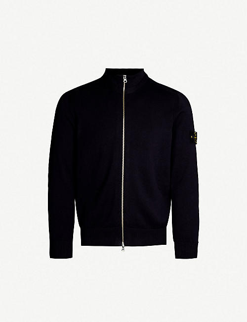 STONE ISLAND Logo-patched cotton-knit cardigan e4f45fdc2