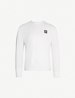 STONE ISLAND Logo-embroidered cotton-jersey top