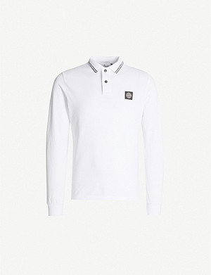 STONE ISLAND Badge chest stretch-cotton polo shirt