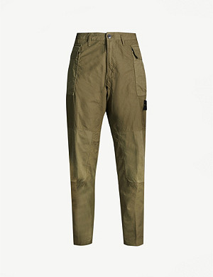STONE ISLAND Logo-badge relaxed-fit tapered cotton trousers