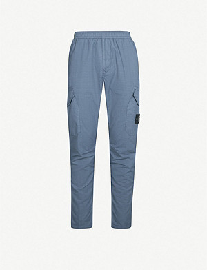 STONE ISLAND Straight relaxed-fit cotton-blend trousers