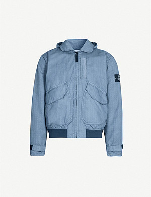STONE ISLAND Hooded cotton-blend jacket