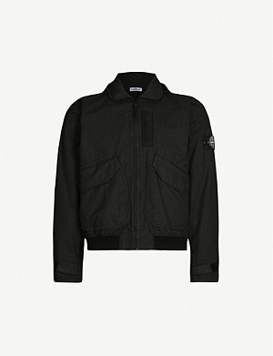 STONE ISLAND Logo-print cotton-blend shell jacket