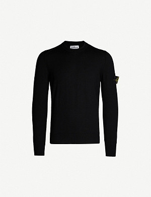 STONE ISLAND Logo-patch long-sleeved wool jumper