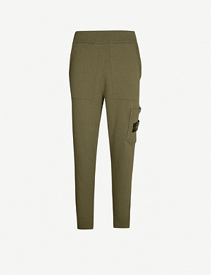 STONE ISLAND Logo-badge knitted jogging bottoms