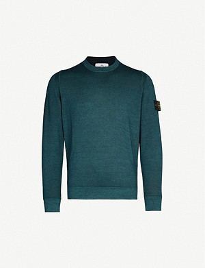 STONE ISLAND Badge-detail wool-knit jumper