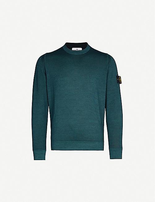 dcf251c4 STONE ISLAND Badge-detail wool-knit jumper