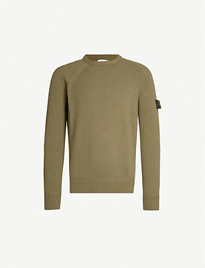 STONE ISLAND Detachable branded-patch knitted jumper