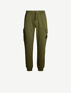 STONE ISLAND Logo-badge cotton-jersey cargo jogging bottoms