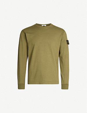 STONE ISLAND Branded-patch regular-fit cotton-jersey jumper