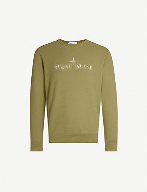 STONE ISLAND Badge sleeve cotton-jersey sweatshirt