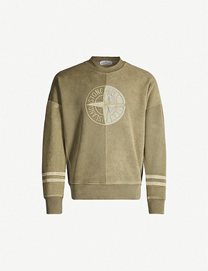 STONE ISLAND Crewneck dropped-shoulder cotton-jersey sweatshirt