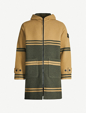 STONE ISLAND Jacquard striped wool-blend coat