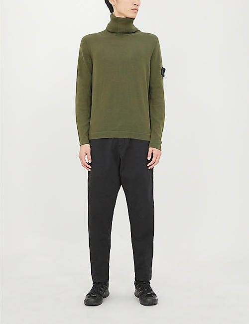 NONE Logo-patch turtleneck cotton-knit jumper