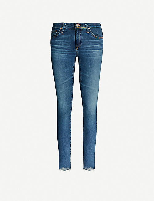 AG Ripped mid-rise ultra-skinny jeans