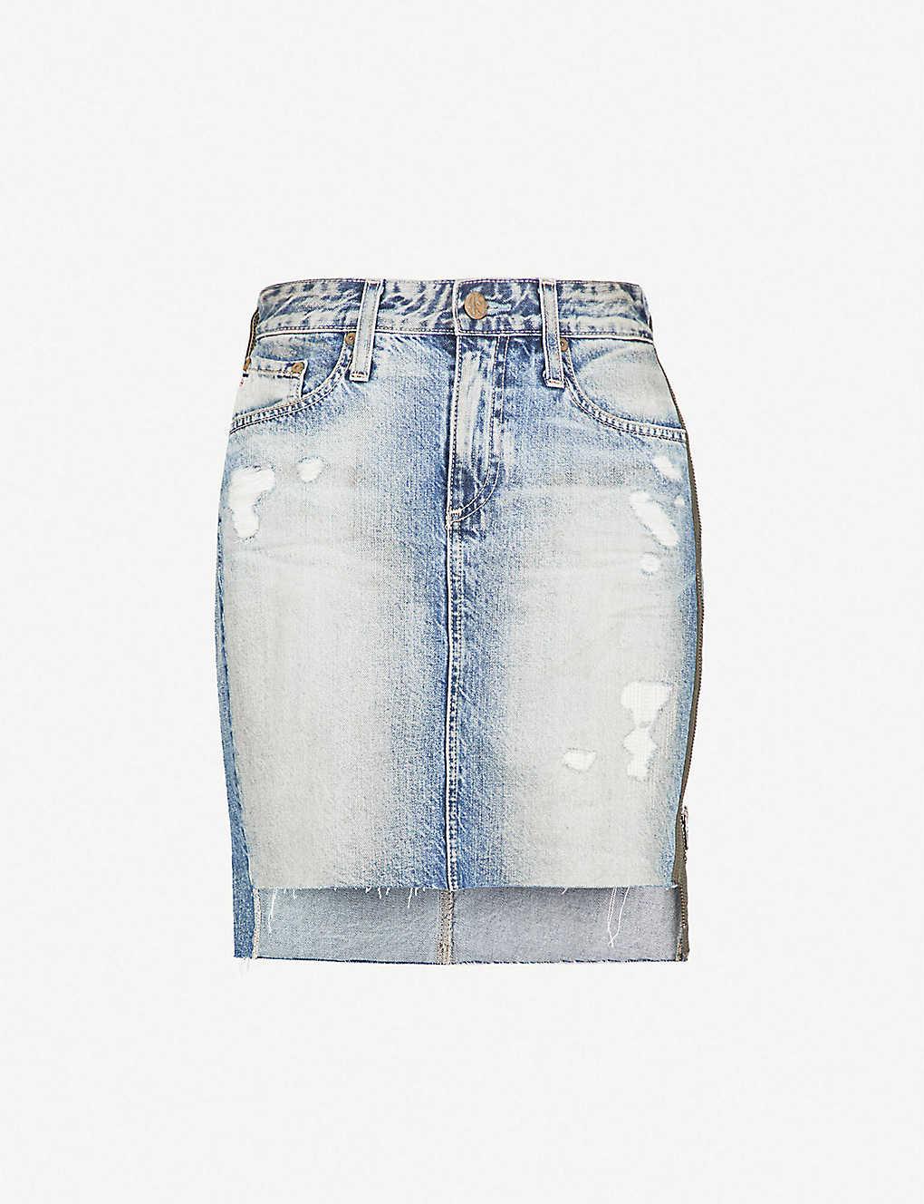 d8c231109d AG - Erin high-rise denim mini skirt   Selfridges.com