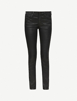 AG Legging Ankle leather-look super-skinny mid-rise jeans
