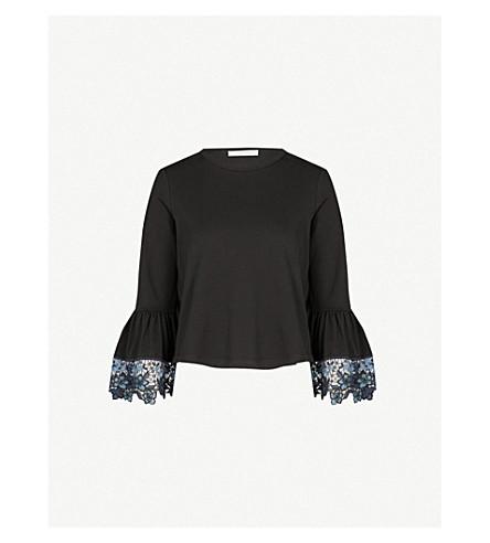 b099e217 SEE BY CHLOE - Lace-cuff cotton-jersey T-shirt | Selfridges.com