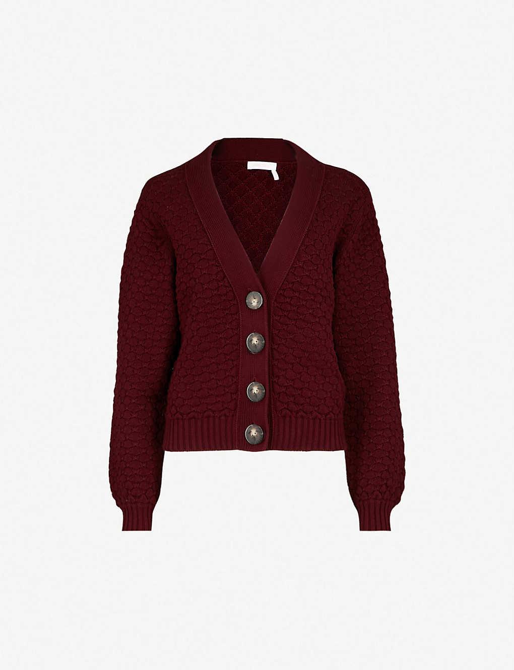 21e599cd SEE BY CHLOE - Textured chunky-knit cotton cardigan   Selfridges.com