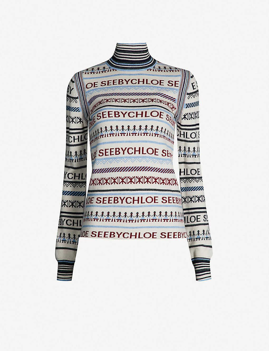 ad3af7bae7 SEE BY CHLOE - Fairisle-pattern knitted turtleneck jumper ...