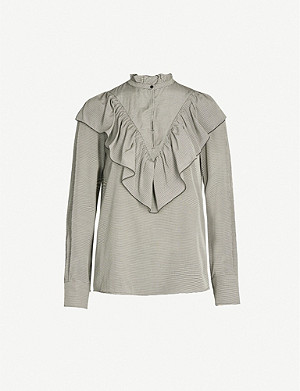 SEE BY CHLOE Ruffled striped high-neck poplin blouse