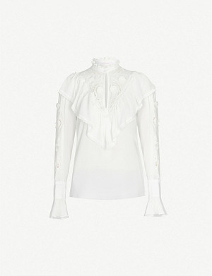 SEE BY CHLOE Ruffled floral high-neck crepe blouse
