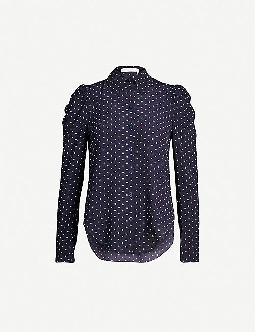 SEE BY CHLOE Polka-dot buttoned-down crepe shirt