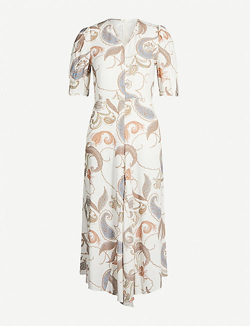 SEE BY CHLOE V-neck printed crepe midi dress