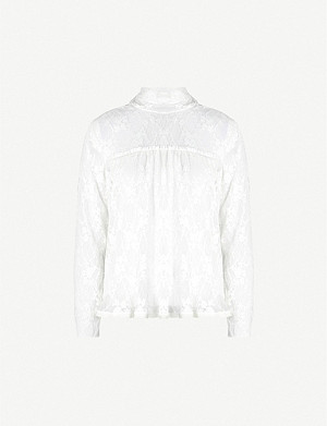 SEE BY CHLOE High-neck floral-pattern lace blouse