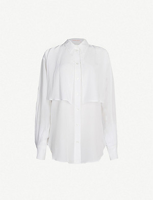 SEE BY CHLOE Flared overlay silk-crepe blouse