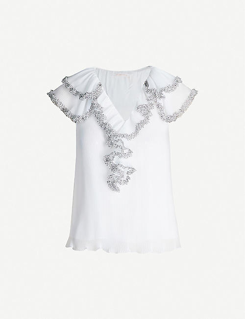 SEE BY CHLOE Ruffle-trim V-neck crepe blouse