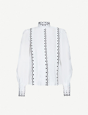 SEE BY CHLOE Contrast-embroidery cotton-poplin shirt