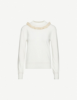 SEE BY CHLOE Ruffle-neck cotton-blend knitted jumper