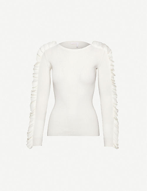 SEE BY CHLOE Frill-trim cotton-blend knitted jumper