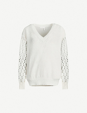 SEE BY CHLOE Cutout-sleeve V-neck knitted jumper