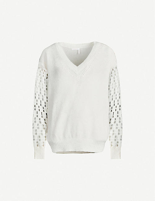 SEE BY CHLOE: Cutout-sleeve V-neck knitted jumper