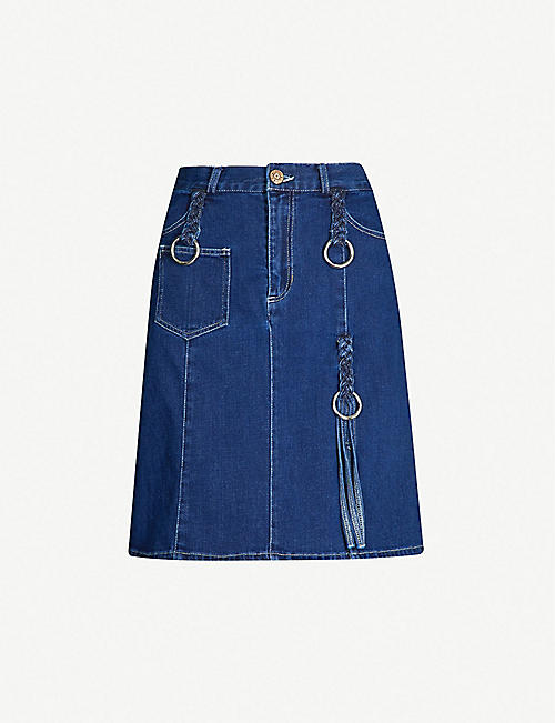 b45701251e55 SEE BY CHLOE Buckle-embellished denim A-line skirt