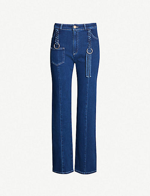 8e026df50ffd SEE BY CHLOE Plait detail straight high-rise jeans