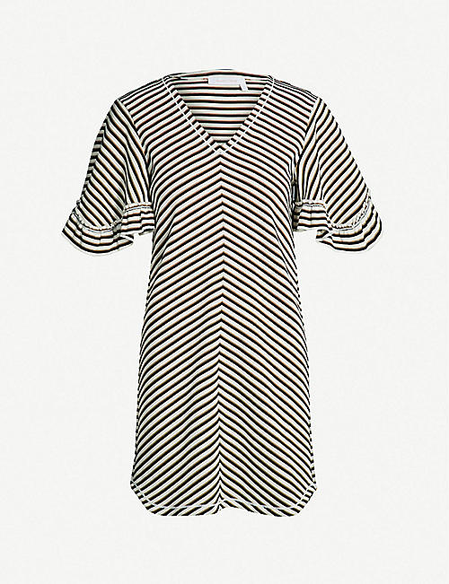 ece3a80f8ff SEE BY CHLOE Striped frilled cotton-jersey dress