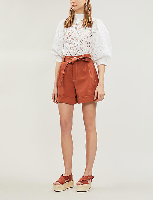 SEE BY CHLOE Tie-front cotton shorts