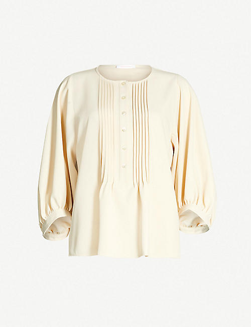 e1f2b38854f5c3 SEE BY CHLOE Pintucked-placket crepe blouse