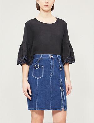 23d69c59 SEE BY CHLOE - Lace-trim cotton-jersey T-shirt | Selfridges.com