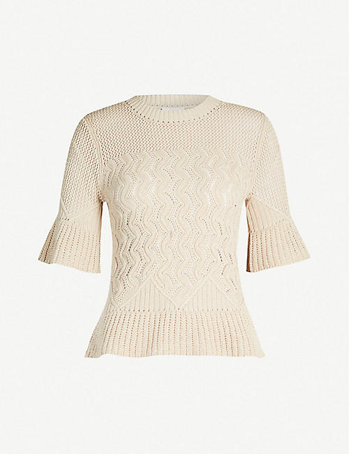 SEE BY CHLOE Bell-sleeved contrast-panel crochet top f3a262cf4